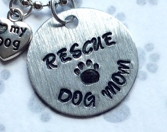 Rescue Dog Mom Silver Necklace, Paw Print Rescue Dog Necklace