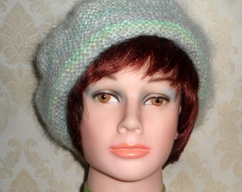 Lady's pastel multi-colored mohair beret-Smart warm & fluffy beret-Elegant green beret-Hand knit pale green made to order mohair beret