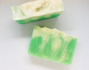 Mojito Peppermint Lime All Natural Soap (All Natural Soap, Handmade Soap, Cold Process Soap, Vegan, Bar Soap)