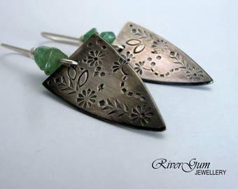Aventurine Earrings, Aztec Earrings, Silver Triangle Earrings, Artisan Silver Earrings, Handmade Artisan Metalwork Jewelry