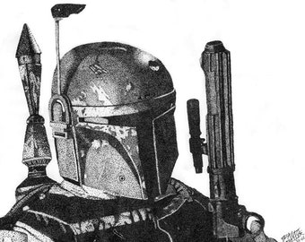 Boba Fett Stippling Print, Star Wars Drawing, Bounty Hunter Art Print, Wall Art, Black and White Ink Pointilism, May the Force Be With You