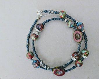 Bohemian style wrap bracelet / eclectic jewelry / red green grey beads / Sundance style / artisan jewelry /
