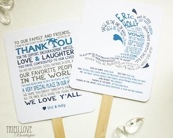 Wave | Seaside | Surf | Beachside Wedding Ceremony Program Fan - Fully Customizable Wording & Ready-to-DIY Kit (QTY 30+)