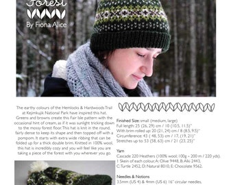 Forest Fair Isle Hat - PDF Knitting Pattern