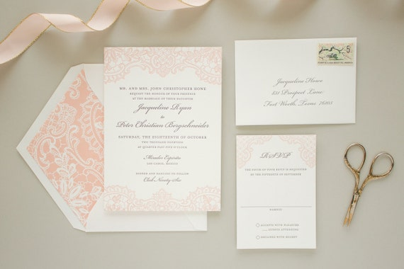 Letterpress Wedding Invitation with Letterpress Lace, Vintage Lace Invitation, Pink Invitations, Elegant Wedding Invite SAMPLE | Hope