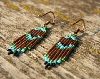 Seed Bead and Copper Earrings