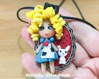 Dolls princess fairytale necklace charm jewelry polymerclay fimo