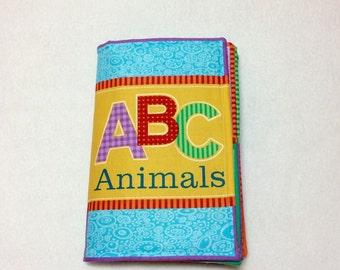 ABC Animals soft fabric book, soft book, baby book, cloth book, colorful book for baby, baby ABC book, animal book, fabric book for baby