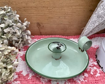 French Vintage Candle Holder - French Enamel Candlestick - Vintage Enamelware - Pale Green Enamel Candlestick