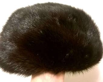 1960s Dark Brown Mink Fur Hat - Vintage