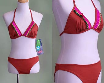 1970s Rust Colored Fringe Bikini - Medium / Large