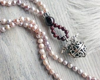 Pearl bola necklace / Harmony ball necklace / Gift for pregnant