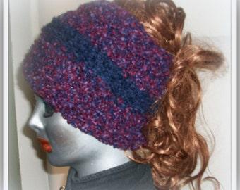 HAT WOMEN KNITTED  Half Hat  Earwarmer  Headband  Women Teens  Girls  Dredlocks Removeable Flower Clip