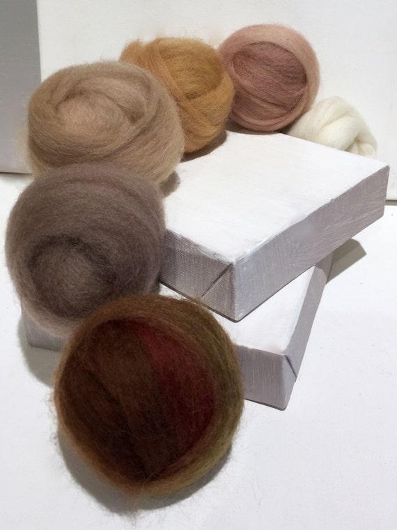 """roving set, Felting wool kit,  """"The Neutral Zone"""", ecru tan sand brown beige  stone red brown, earth skin tones, wool roving kit, weaving"""