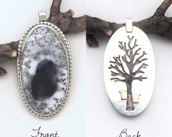 Vermont Sugaring 3 Pendant Maple Syrup Dendritic Opal Sterling Silver Pendant Nature Jewelry Gemstone Pendant Gemstone Nature Wedding