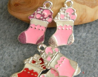 1 charm pink metal boot 20 * 10 mm