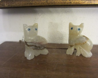 Marble Stone Cat Figurines, Pair w/ free ship