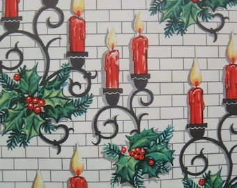 Vintage Wrapping Paper - Christmas Candle Sconces on White Brick Background - Christmas Wrapping Paper - 1 Unused Full Sheet Gift Wrap