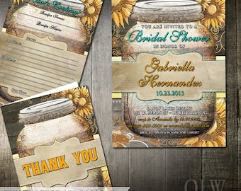 Rustic Bridal Shower Invitation Party Package | Mason Jar Wood and and Sunflowers | Bridal Shower Invitation | Digital Printable Party