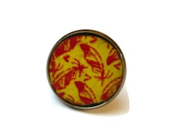 Ring travel Russia copper enameled bird and leaf