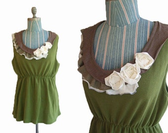 Sale Floral Summer Tank  XL olive Cream Earthy Recycled Womens Clothing Floral