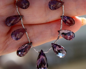 Large 11-18mm  AAA Czochralski Color Change Alexandrite Tear Drop cut Briolette Beads Focal Pendant or Matching Pair