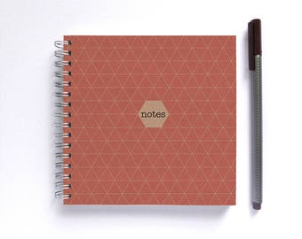 Notebook/Sketchbook/Journal • SMALL 14cm/5.5in Square • Geometric Choose Your Colour
