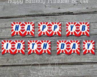 Ninja Birthday Banner | Printable Party Banner | Sign | Parkour | Digital Download | Red White Blue |  Instant Download