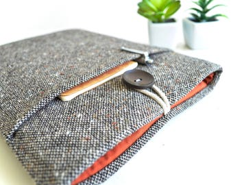 Brown Wool Kindle Cover with Pocket, Kindle Fire, Paperwhite Cover, Kindle Oasis, Custom Sizes Available