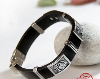 925 Silver Leather Bracelet/ Mens cuff silver and leather/ Symbol jewelry/ Mens bangles/ Bracelet sterling silver/ Original jewelry design