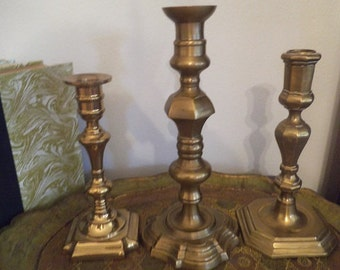 Vintage Grouping BOHO Brass Candle Sticks ~ 3 tall taper candle sticks ~ Mid Century