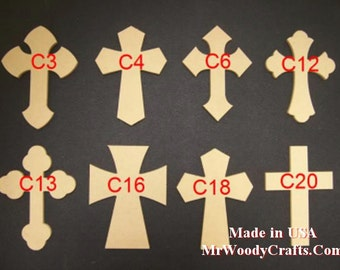 """5 12"""" x 16"""" 1/4"""" thick Unfinished Wooden Crosses, No Keyholes, Choose from 8 different styles, Ready to Paint, 121625-5"""