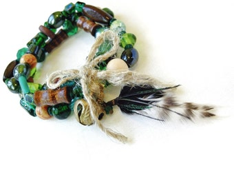 Green Stacking Bracelet Set Feather & Bell Charm Tribal Style Brown Wood Green Glass Beads Stretch Elastic Hemp Bow Front Handmade Canada