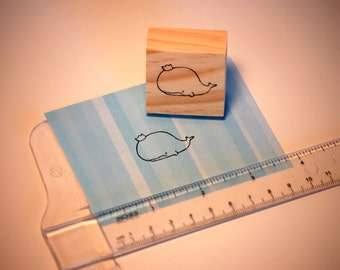 """Hand carved rubber stamp - humorous """"Prince of Whales."""""""