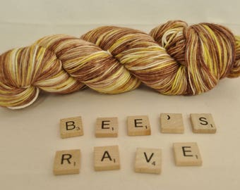 """Hand-dyed yarn, """"Bee's Rave"""" variegated, soft and squishy yarn. Great for socks or shawls. 80/20 Superwash wool/Nylon"""