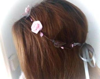 Flower Crown light pink and butterflies