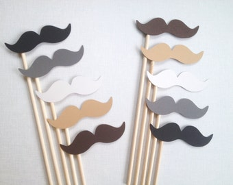 10 Vintage Mustache Photo Booth Props - Rustic Wedding Photo Booth Props - Neutral Mustache Party - Birthday Photobooth