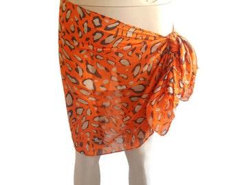Orange Sarong, leopard Sarong, Pareo Cotton, Beach wear, Pareo Sarong, beach Sarong, Bikini skirt, Beach dress, Sarong wrap skirt, Scarf