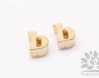 "IP003-MG-B// Matt Gold Plated Simple Lower Case Initial ""b"" Pendant, 2 pcs"