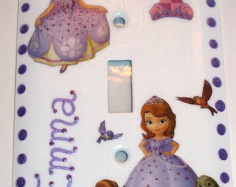 SOFIA the FIRST - Single METAL Switch Plate - Hand Painted & Personalized