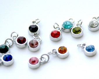Silver-plated birthstone charm in thick, deep-welled bezel setting. 8mm (6mm glass stone) Bracelet pendant ring. Birthday mothers day (WD2)