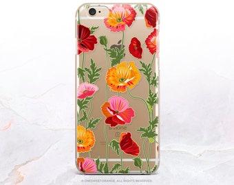 iPhone 8 Case iPhone X Case iPhone 7 Case Poppy Floral Clear GRIP Rubber Case iPhone 7 Plus Clear Case iPhone SE Case Samsung S8 Case U389