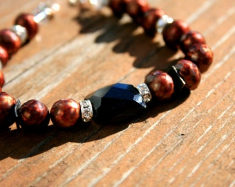 COPPER COFFEY Chalcedony, FW Pearl and Sterling Bracelet