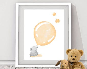 orange elephant art print, baby elephant wall art, elephant art for nursery room, baby girl's nursery art, baby animal wall art, baby shower