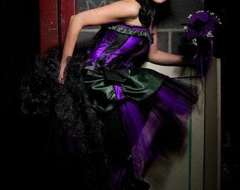 Purple Princess Luna brocade bridal dress