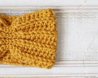 Super Chunky Crochet Turban Headband in Mustard Yellow, Ear Warmer, Gift for Teen, Gift for Mom, Headwrap