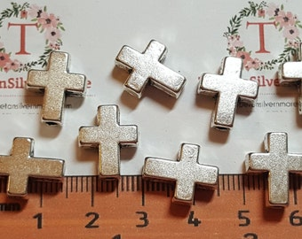 10 pcs per pack 14x12mm Reversible Plain Cross Bead in Antique Silver finish Lead free Pewter
