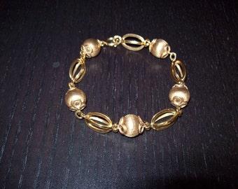 18 K Gold Bead Bracelet, Rose Gold Bracelet, Estate Jewelry, Fine Jewelry, Gold Jewelry, Vintage Bead Bracelet