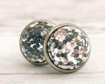Silver sparkle cabochon stainless steel stud earrings