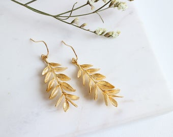 Grecian Goddess Earrings, Gold Leaf Earrings, Willow Branch Earrings, Olive Branch Earrings .